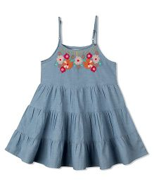 Budding Bees Solid Embroidered Chambray Singlet Frock - Blue
