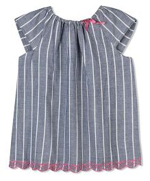 Budding Bees Stiped Embroidered Top - Grey