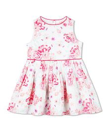 Budding Bees Floral Print Summer Dress - Off White