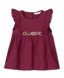 Budding Bees Frill Sleeves & Embroidered Frock - Magenta