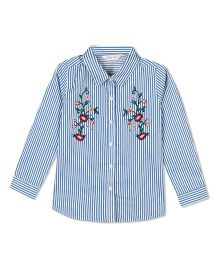 Budding Bees Striped & Embroidered Top - Blue