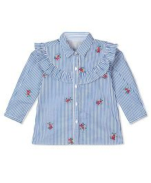 Budding Bees Stipred & Embroidered Neck Shirt - Blue