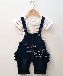 Aww Hunnie Stripes Top With Dinosaur Dungaree - Black