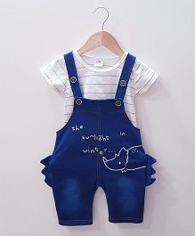 Aww Hunnie Stripes Top With Dinosaur Dungaree - Blue