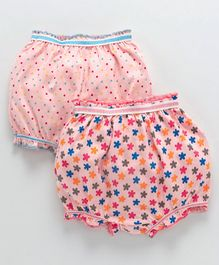 Babyhug Bloomers Floral & Dot Print Pack of 2 - Peach