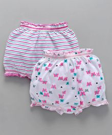 Babyhug Bloomers Butterfly & Stripe Print Pack of 2 - White Pink