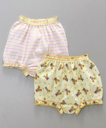 Babyhug Bloomers Stripes & Mouse Print Pack of 2 - Yellow White