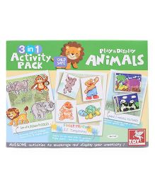 Toy Kraft 3 in 1 Activity Kit Play & Display Animals - Multicolor