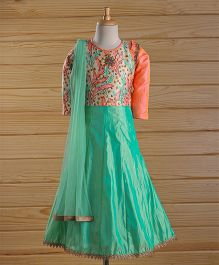 Enfance Printed Choli With Gored Ghagra & Dupatta Set - Aqua Green & Orange