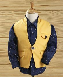 Robo Fry Full Sleeves Printed Shirt And Jacket - Navy Yellow