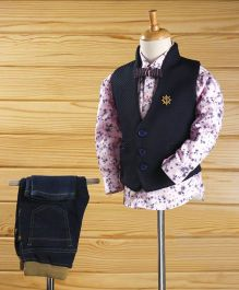 Robo Fry Full Sleeves Shirt Jeans With Waistcoat And Bow - Navy Pink