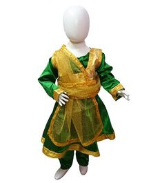 BookMyCostume Kathak Indian Classical Dance Costume without Jewellery - Green & Golden