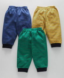 Zero Full Length Lounge Pants Pack of 3 Stripes Print - Yellow Green Blue