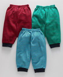 Zero Full Length Lounge Pants Pack of 3 Stripes Print - Green Red Blue