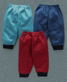 Zero Full Length Lounge Pants Pack of 3 Stripes Print - Red Royal Blue