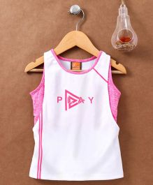 Little Kangaroos Sleeveless Sports Tee - White Pink