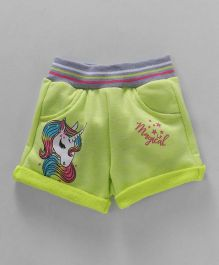 Little Kangaroos Casual Shorts Unicorn Print - Lime Green