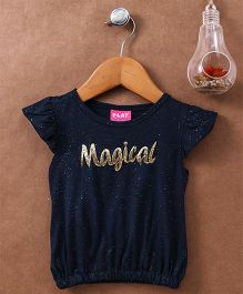 Little Kangaroos Flutter Sleeves Top Magical Patch - Navy