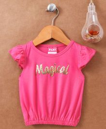 Little Kangaroos Flutter Sleeves Top Magical Patch - Pink