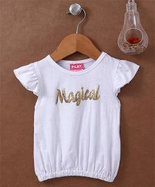 Little Kangaroos Flutter Sleeves Top Magical Patch - White