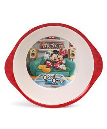 Disney Bowl With Handle Mickey Mouse 7 Friends Print - Red White