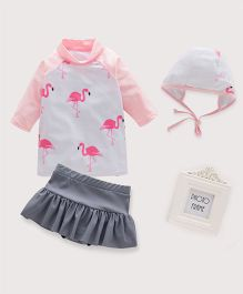 Pre Order - Awabox Cute Bird Printed Swimsuit With Cap - Pink