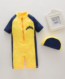 Pre Order - Awabox One Piece Swimsuit With Front Zipper & Cap Set - Yellow