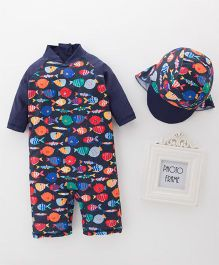Pre Order - Awabox Fish Printed Swimsuit With Cap - Blue