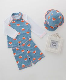 Pre Order - Awabox Fox Printed Full Sleeves Swimsuit With Cap - Blue