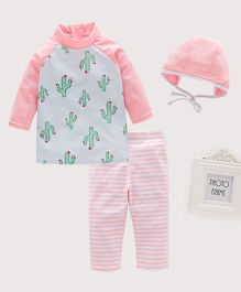 Pre Order - Awabox Cactus Printed Full Sleeves Swimsuit With Cap - Pink