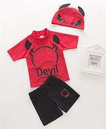 Pre Order - Awabox Devil Printed Swimsuit With Cap - Red