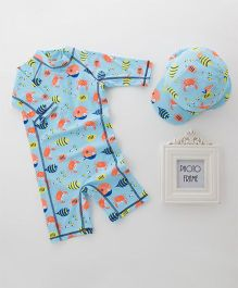 Pre Order - Awabox Sea Animal Printed Swimsuit With Cap - Blue