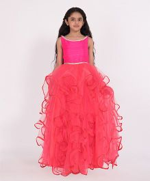 Pinkcow Ruffled Gown With Pearl Detail - Pink