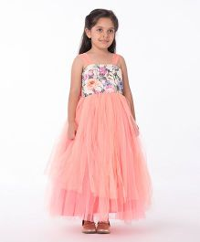 Pinkcow Floral Bodice With Frill Skirt Gown - Peach