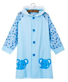 Pre Order - Superfie Small Elephant Printed Rain Coat - Blue