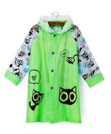Pre Order - Superfie Black Cats Printed Rain Coat - Green