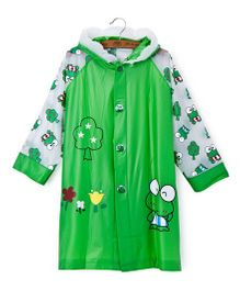 Pre Order - Superfie Frog Printed Rain Coat - Dark Green