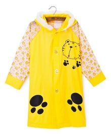 Pre Order - Superfie Tiger Printed Rain Coat - Light Yellow