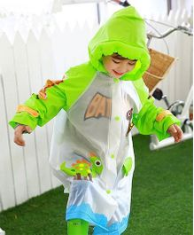 Pre Order - Superfie Dinosaur Printed Rain Coat - Green