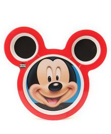 Disney Mickey Mouse Face Shape Plate - Red Black