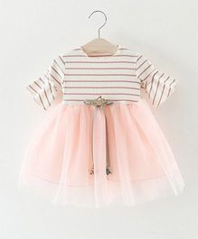 Pre Order - Superfie Net Frill Dress With Stripe Bodice - White & Peach