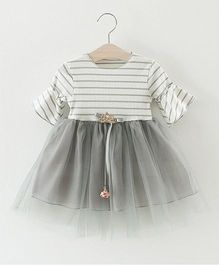 Pre Order - Superfie Net Frill Dress With Stripe Bodice - White & Grey