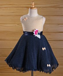 Maalka Sleeveless A Line Dress With Bows - Navy Blue