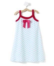 CrayonFlakes Chevron Print Strap Dress With Bow - Light Blue