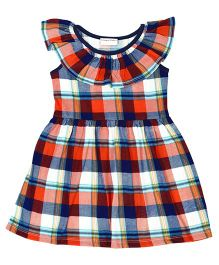 CrayonFlakes Checks Frill Neck Dress - Multicolor