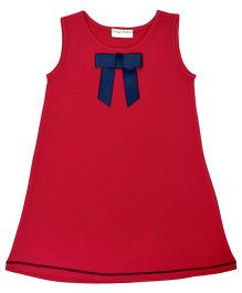 CrayonFlakes Straight Knit Dress With Bow - Red