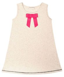 CrayonFlakes Straight Knit Dress With Bow - Off White