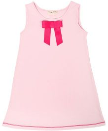 CrayonFlakes Straight Knit Dress With Bow - Light Pink