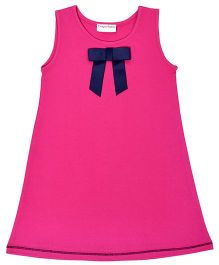 CrayonFlakes Straight Knit Dress With Bow - Pink