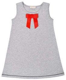 CrayonFlakes Straight Knit Dress With Bow - Grey